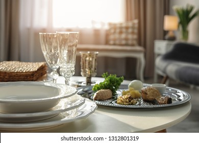 Table served for Passover (Pesach) Seder indoors