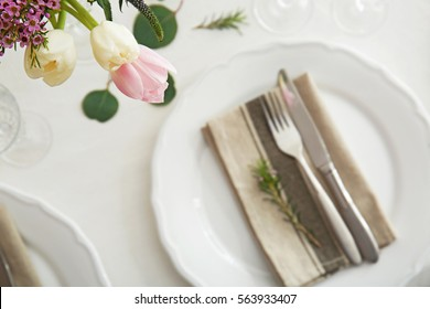 Table served for wedding dinner, closeup