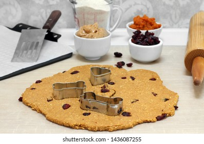 Table set up for baking peanut butter, oat and cranberry dog cookies.  Image includes rolled dough, rolling pin, cookie sheet, spatula and ingredients.