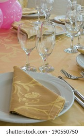 Table set for an event party.