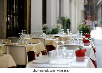 Table set for an event party or dinner outdoors