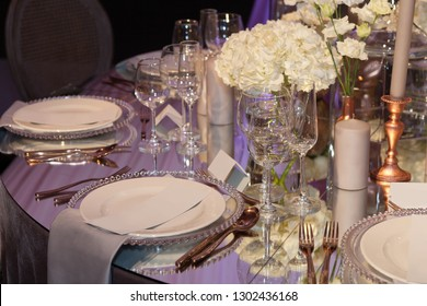 Table set for an event party or wedding reception luxury elegant table setting dinner