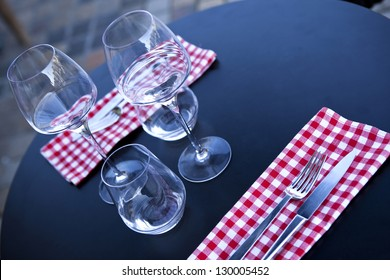 Table set in a french bistro