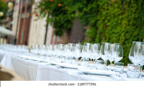 Table set in a garden or outdoor. Selective focus