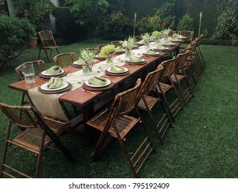 Table set up in garden ready for catered special ocassion