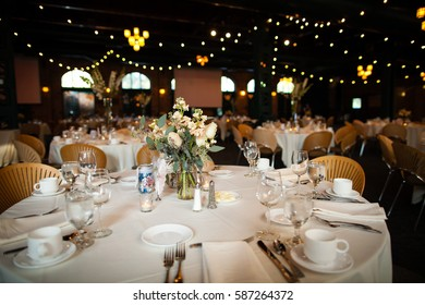 Table set for reception and party