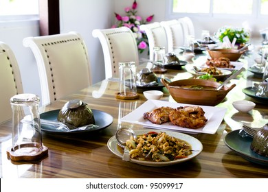 Table set service with food at restaurant before party