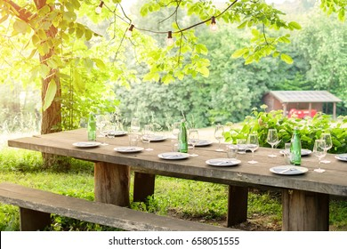 Table is set and waiting for dining in the countryside & Lunch Table Images Stock Photos u0026 Vectors | Shutterstock
