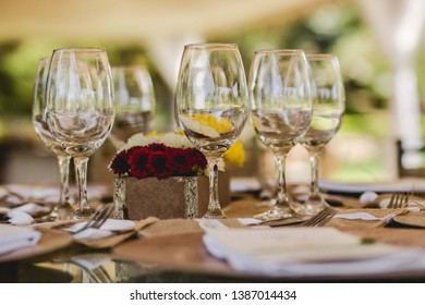 table set up for wedding party