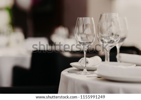 Table Set Wedding Reception Party Wineglasses Stock Photo Edit Now