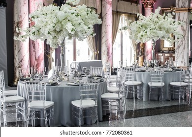 Table sets for wedding or another catered event dinner.