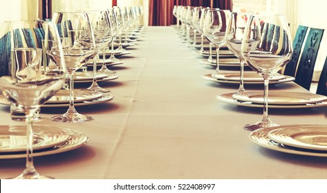 Table setting for a banquet or dinner party.