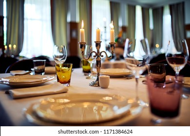 table setting with candelabrum