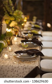 Table setting for dining at a high end wedding.
