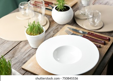 Table setting for dinner in vegetarian cafe