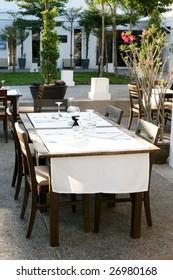 Table setting at an elegant restaurant.