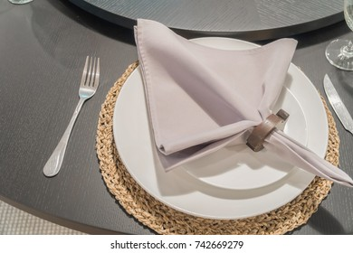 Table setting for an event party or wedding reception.
