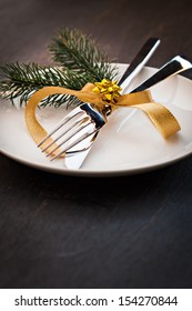 table setting  with fir and copy space