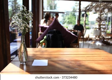 table setting in restaurant background