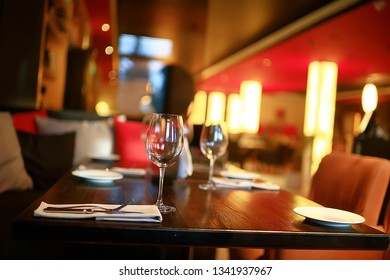 table setting restaurant / cutlery on a table in a cafe, the concept of beautiful food, European style