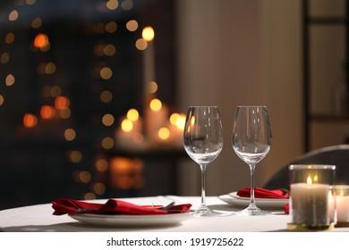 Table setting for romantic dinner in restaurant