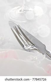Table setting for romantic dinner or wedding