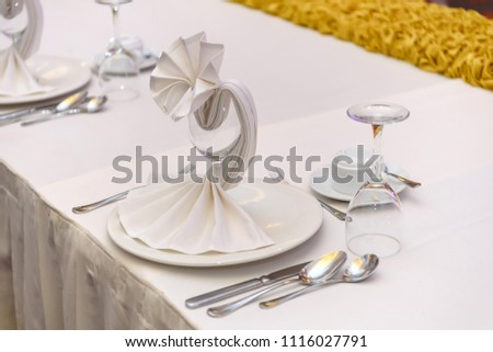Table Setting Showing Cloth Napkin Folded Stock Photo Edit Now