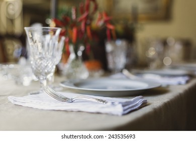 Table setting with silver fork