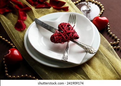 Table setting of Valentines Day