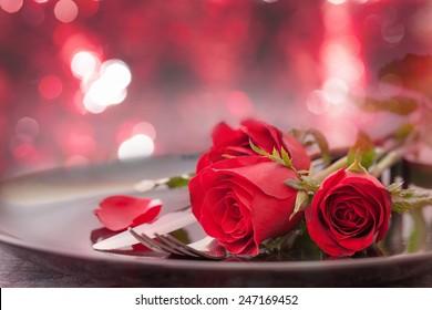 Tischanordnung für Valentinstag