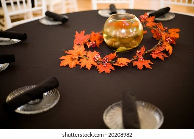 table setting at a wedding - with a fall theme