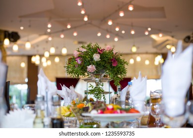 Table setting for a wedding, holiday.