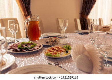 Table setting,festive event and table setting,dishes and snacks when setting tables.2020