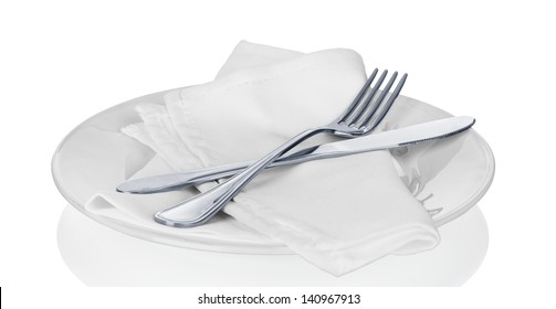 Table Setting,Folded Napkin, on white
