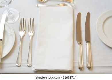 Table settings for fine dining.