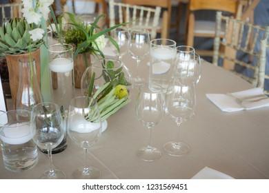 Table setup at elegant wedding reception
