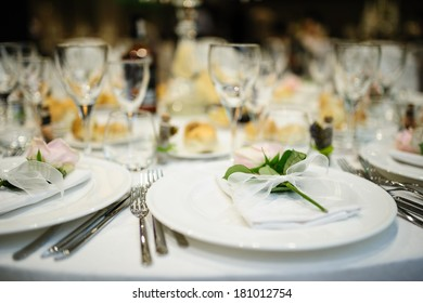 Table setup at a marriage waiting for guests