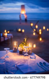 Table setup for wedding ceremony on the beach.(Selective Focus)