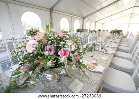 Table Setup Wedding Reception Big Tent Stock Photo Edit Now