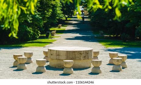 The Table Of Silence, Targu Jiu, Romania - May 31, 2018: The Table Of Silence, part of the Sculptural Ensemble of Constantin Brâncu?i at Târgu Jiu, Romania