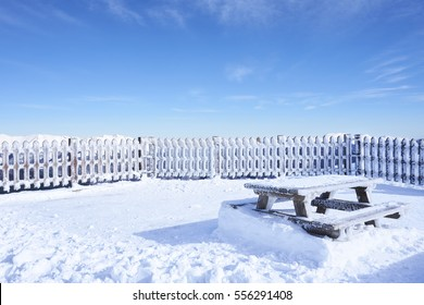 Table and snow