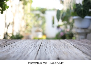 Table surface view with blur garden background