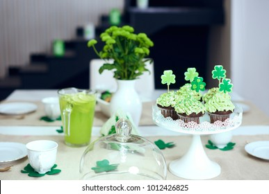 Table with sweet food at Saint Patrick's Day