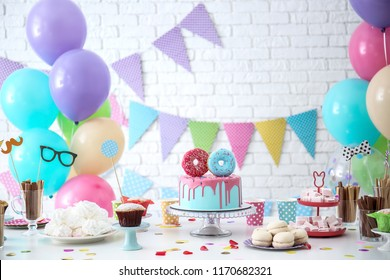 Table with sweets prepared for Birthday party