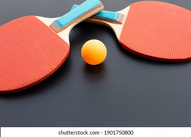 Table tennis equipment racket and ball. Sport for health concept