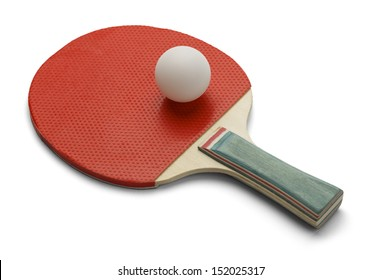 Table Tennis Paddle and Ping Pong Ball Isolated on White Background.
