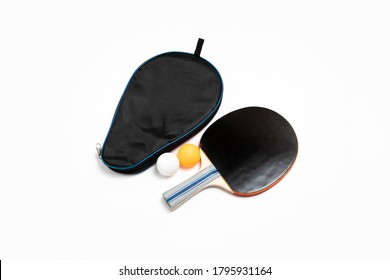 Table tennis racket with cover and and balls isolated on white background.Black Ping-pong racket and ball.High resolution photo.Mock up.