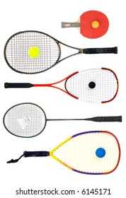 Table tennis, Tennis, squash, badminton and racquetball racquets isolated on white background.
