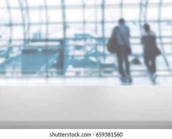 Table Top And airport departure abstract blur background