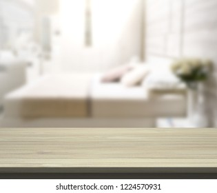Table Top And Blur Background In Bedroom